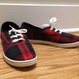 Brand new red and black plaid sneakers